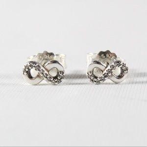 PANDORA Sterling Infinite Love CZ Stud Earrings